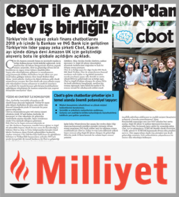 Cbot announced the partnership with Amazon on Milliyet
